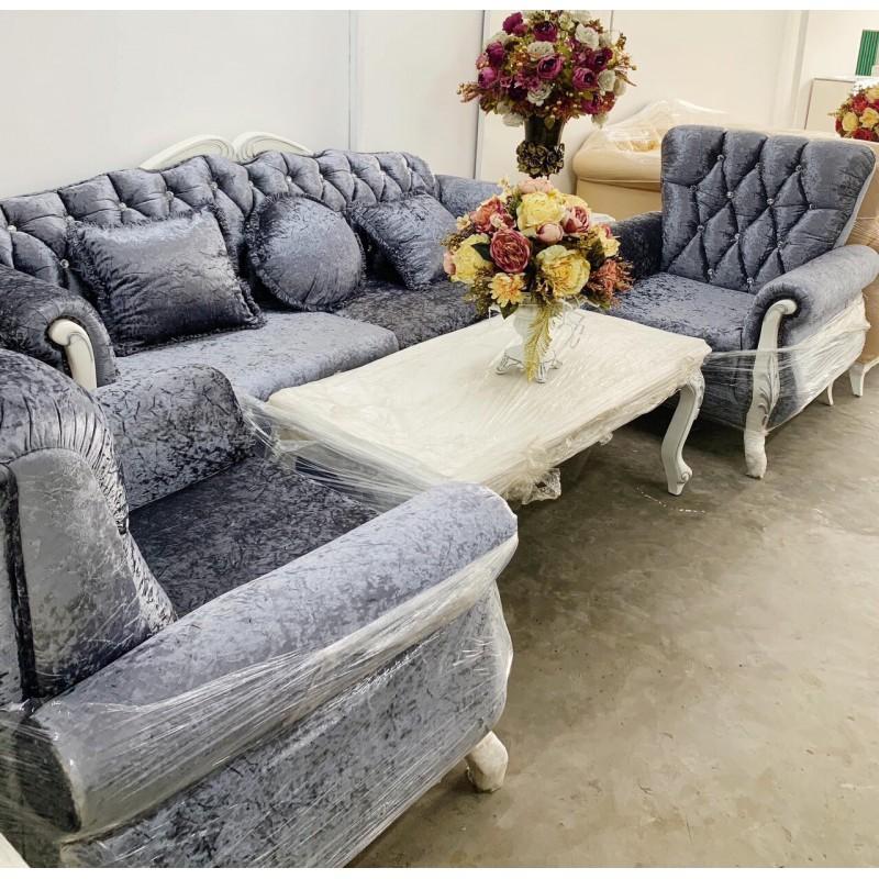 Bộ sofa cổ điển AMA Furniture MNMS-LUIS-V11 (Xám Nhạt)