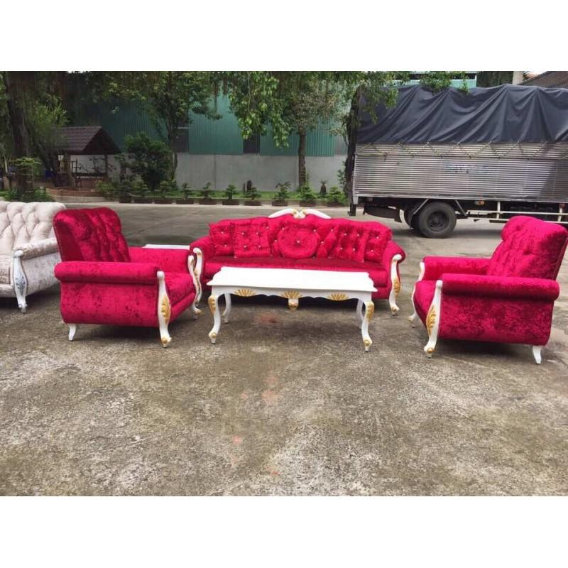 Bộ sofa cổ điển cao cấp AMA Furniture MNMS-LUIS-V8 (Đỏ)